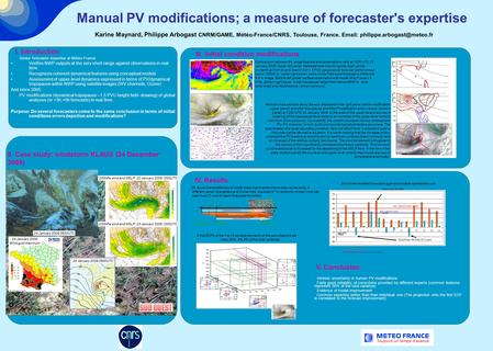 Manual PV modifications; a measure of forecaster's expertise Karine Maynard, Philippe Arbogast CNRM/GAME, Météo-France/CNRS, Toulouse, France.