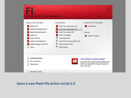 Open a new Flash File Action Script 2.0. Create a button like you did last lesson and name it Click to Play.