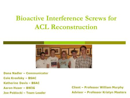 Bioactive Interference Screws for ACL Reconstruction