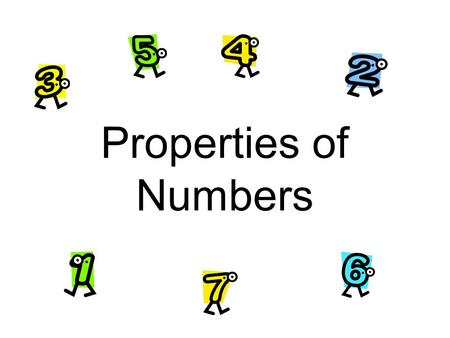 "Properties of Numbers. Additive Identity Adding ""0"" to a number gives you the same initial number. Example 5 + 0 = 5 0 + 99 = 99."