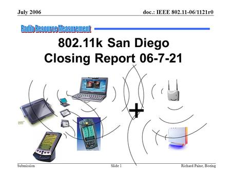 July 2006 Richard Paine, BoeingSlide 1 doc.: IEEE 802.11-06/1121r0 Submission 802.11k San Diego Closing Report 06-7-21 +