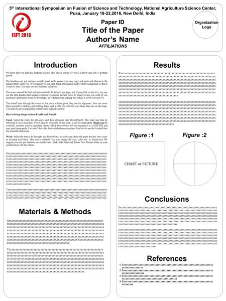 We hope that you find this template useful! This one is set up to yield a 120x90 cms (4x3') portrair poster. The headings are put and one would expect.