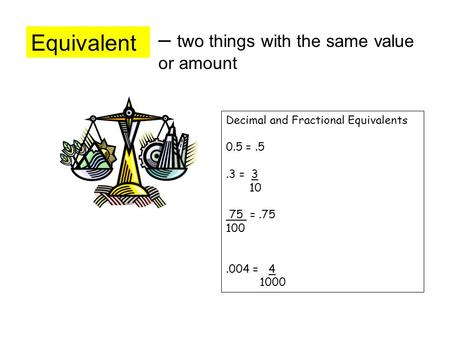 Equivalent – two things with the same value or amount Decimal and Fractional Equivalents 0.5 =.5.3 = 3 10 75 =.75 100.004 = 4 1000.