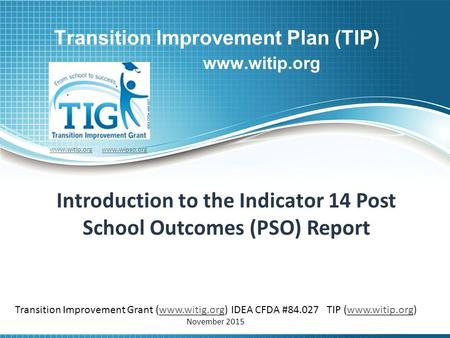 Transition Improvement Plan (TIP) www.witip.org Introduction to the Indicator 14 Post School Outcomes (PSO) Report www.witip.orgwww.witip.org www.wipso.orgwww.wipso.org.
