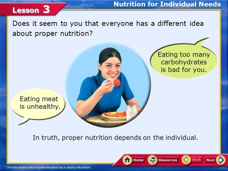 Lesson 3 Eating meat is unhealthy. Does it seem to you that everyone has a different idea about proper nutrition? Nutrition for Individual Needs In truth,