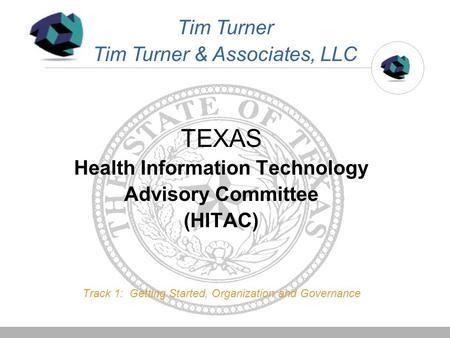 TEXAS Health Information Technology Advisory Committee (HITAC) Track 1: Getting Started, Organization and Governance Tim Turner Tim Turner & Associates,