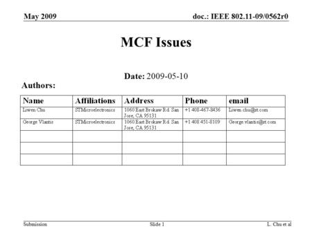 Doc.: IEEE 802.11-09/0562r0 Submission May 2009 L. Chu et alSlide 1 MCF Issues Date: 2009-05-10 Authors: