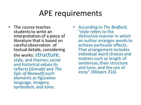 APE requirements The course teaches students to write an interpretation of a piece of literature that is based on careful observation of textual details,