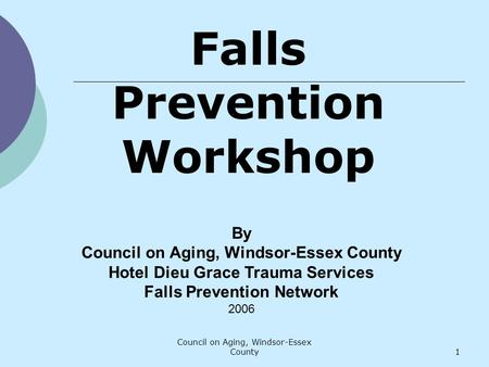 Council on Aging, Windsor-Essex County1 By Council on Aging, Windsor-Essex County Hotel Dieu Grace Trauma Services Falls Prevention Network 2006 Falls.