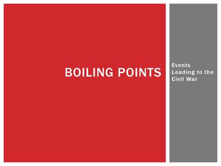 Events Leading to the Civil War BOILING POINTS.  Was the Civil War Inevitable? STARTER – FEBRUARY 24TH.