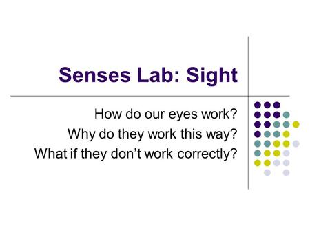 Senses Lab: Sight How do our eyes work? Why do they work this way? What if they don't work correctly?