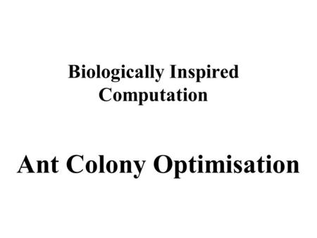 Biologically Inspired Computation Ant Colony Optimisation.