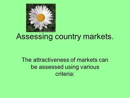 Assessing country markets. The attractiveness of markets can be assessed using various criteria: