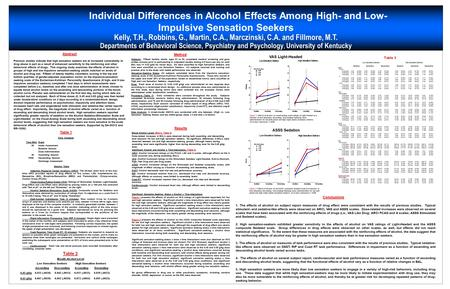 Individual Differences in Alcohol Effects Among High- and Low- Impulsive Sensation Seekers Kelly, T.H., Robbins, G., Martin, C.A., Marczinski, C.A. and.