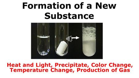 Formation of a New Substance Heat and Light, Precipitate, Color Change, Temperature Change, Production of Gas.