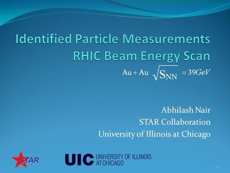 Abhilash Nair STAR Collaboration University of Illinois at Chicago 1 STAR.