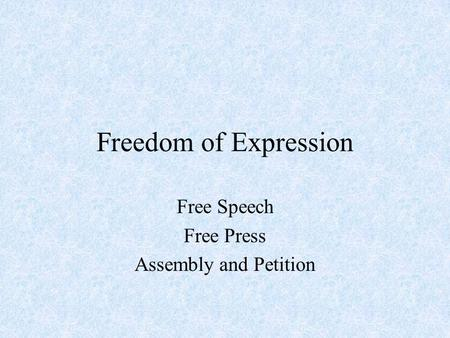 Freedom of Expression Free Speech Free Press Assembly and Petition.