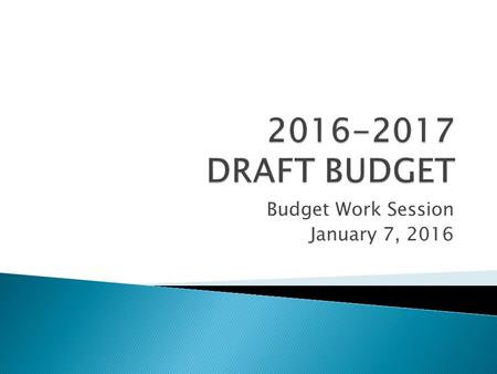 Budget Work Session January 7, 2016. The Finance Committee is recommending the following:  The Board authorize the intent to adopt the Proposed Preliminary.