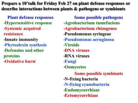 Prepare a 10'talk for Friday Feb 27 on plant defense responses or describe interactions between plants & pathogens or symbionts Plant defense responses.