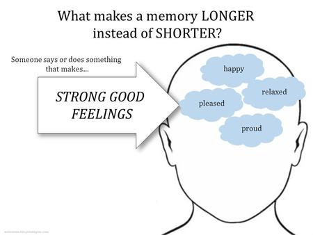 What makes a memory LONGER instead of SHORTER? Someone says or does something that makes… happypleasedrelaxedproud autismteachingstrategies.com.