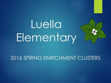 2016 SPRING ENRICHMENT CLUSTERS Luella Elementary.