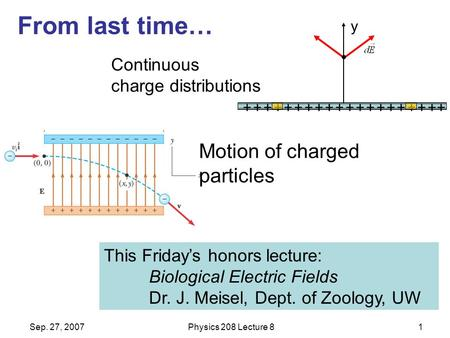 Sep. 27, 2007Physics 208 Lecture 81 From last time… This Friday's honors lecture: Biological Electric Fields Dr. J. Meisel, Dept. of Zoology, UW Continuous.