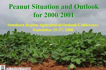 Peanut Situation and Outlook for 2000/2001 Southern Region Agricultural Outlook Conference September 25-27, 2000.