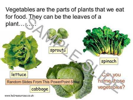 www.ks1resources.co.uk Vegetables are the parts of plants that we eat for food. They can be the leaves of a plant……… lettuce spinach cabbage Can you name.