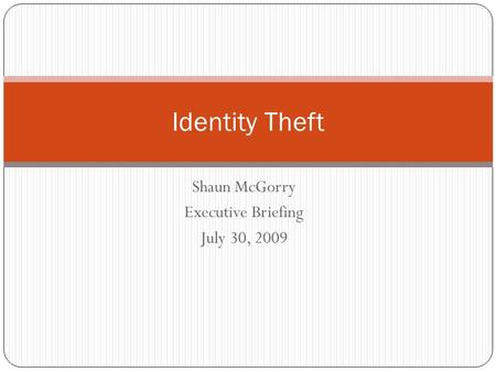 Shaun McGorry Executive Briefing July 30, 2009 Identity Theft.