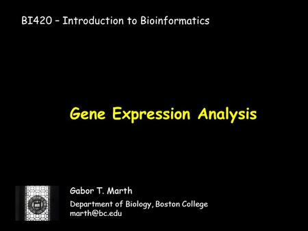 Gene Expression Analysis Gabor T. Marth Department of Biology, Boston College BI420 – Introduction to Bioinformatics.