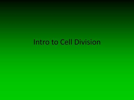 An Introduction to Cell Division