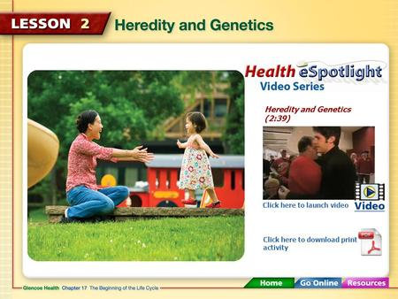 Heredity and Genetics (2:39) Click here to launch video Click here to download print activity.