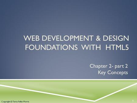 Copyright © Terry Felke-Morris WEB DEVELOPMENT & DESIGN FOUNDATIONS WITH HTML5 Chapter 2- part 2 Key Concepts 1 Copyright © Terry Felke-Morris.