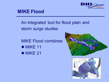 1 MIKE Flood An integrated tool for flood plain and storm surge studies MIKE Flood combines lMIKE 11 lMIKE 21.