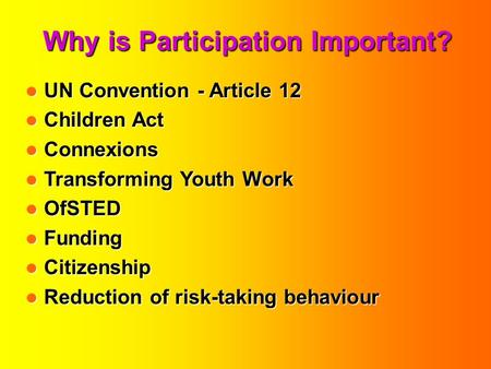 Why is Participation Important? UN Convention - Article 12 UN Convention - Article 12 Children Act Children Act Connexions Connexions Transforming Youth.