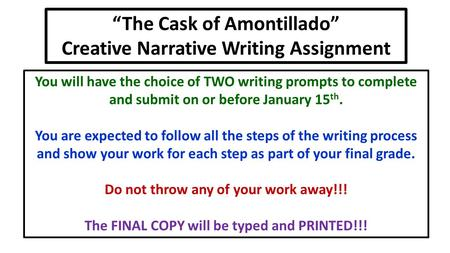 an outline of the cask of amontillado