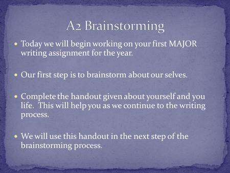 Today we will begin working on your first MAJOR writing assignment for the year. Our first step is to brainstorm about our selves. Complete the handout.