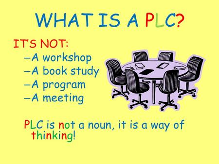 WHAT IS A PLC? IT'S NOT: – A workshop – A book study – A program – A meeting PLC is not a noun, it is a way of thinking!