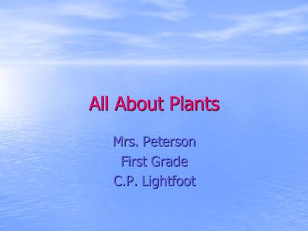 All About Plants Mrs. Peterson First Grade C.P. Lightfoot.
