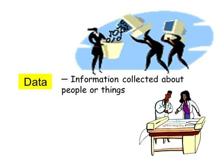 Data – Information collected about people or things.