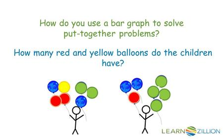 How do you use a bar graph to solve put-together problems? How many red and yellow balloons do the children have?