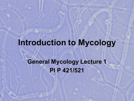Introduction to Mycology General Mycology Lecture 1 Pl P 421/521.