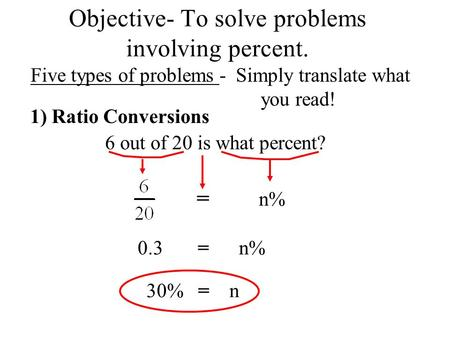 Objective- To solve problems involving percent. Five types of problems - Simply translate what you read! 1) Ratio Conversions 6 out of 20 is what percent?