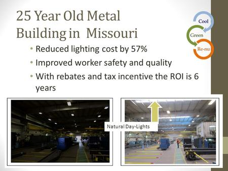 25 Year Old Metal Building in Missouri Reduced lighting cost by 57% Improved worker safety and quality With rebates and tax incentive the ROI is 6 years.