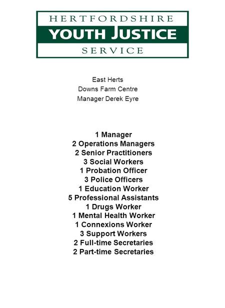 East Herts Downs Farm Centre Manager Derek Eyre 1 Manager 2 Operations Managers 2 Senior Practitioners 3 Social Workers 1 Probation Officer 3 Police Officers.