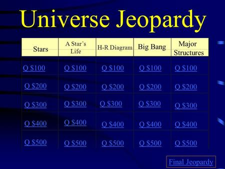 Universe Jeopardy Stars A Star's Life H-R Diagram Major Structures Big Bang Q $100 Q $200 Q $300 Q $400 Q $500 Q $100 Q $200 Q $300 Q $400 Q $500 Final.