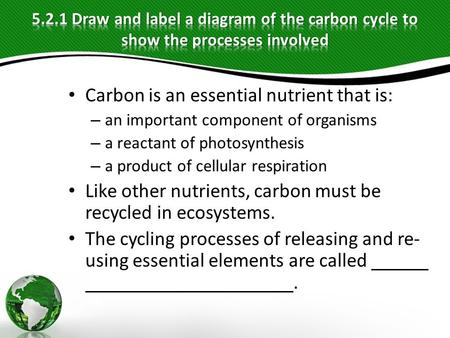 Carbon is an essential nutrient that is: – an important component of organisms – a reactant of photosynthesis – a product of cellular respiration Like.