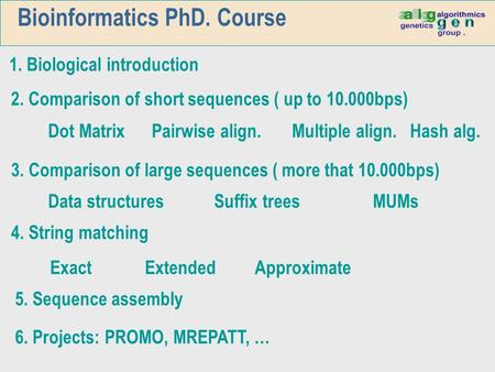 Bioinformatics PhD. Course 1. Biological introduction Exact Extended Approximate 6. Projects: PROMO, MREPATT, … 5. Sequence assembly 2. Comparison of short.