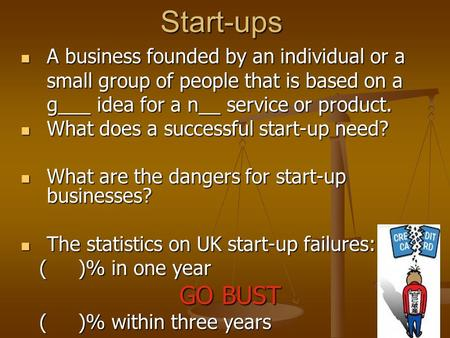 Start-ups A business founded by an individual or a small group of people that is based on a g___ idea for a n__ service or product. A business founded.