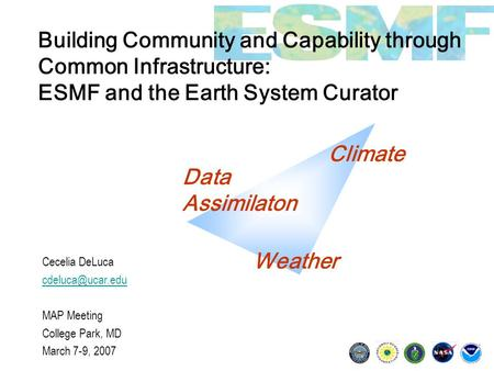 Building Community and Capability through Common Infrastructure: ESMF and the Earth System Curator Cecelia DeLuca MAP Meeting College.